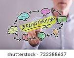 man touching a brainstorming... | Shutterstock . vector #722388637