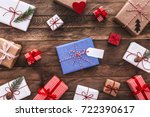 modern gifts on a wooden rustic ... | Shutterstock . vector #722390617