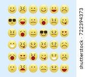 set of smile icons. emoji.... | Shutterstock .eps vector #722394373