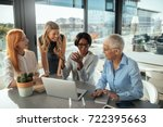smiling business women working... | Shutterstock . vector #722395663