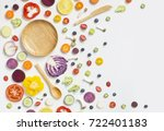 flat lay colourful assorted... | Shutterstock . vector #722401183