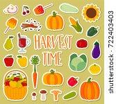 cute hand drawn harvest set.... | Shutterstock .eps vector #722403403