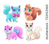 cute cartoon fluffy cats set.... | Shutterstock .eps vector #722412463