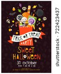 halloween poster with a pack... | Shutterstock .eps vector #722423437