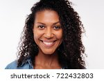close up of pretty curly woman... | Shutterstock . vector #722432803
