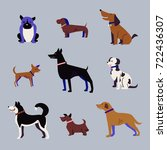 set of dogs  icons  funny... | Shutterstock .eps vector #722436307