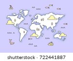 world map with little icons of... | Shutterstock .eps vector #722441887