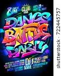 dance battle party poster... | Shutterstock .eps vector #722445757