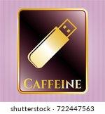 golden emblem with flash drive ... | Shutterstock .eps vector #722447563