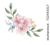 watercolor pink flowers... | Shutterstock . vector #722453317