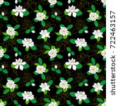 seamless pattern with gardenia... | Shutterstock .eps vector #722463157