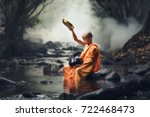 novice monks thailand  buddhist ...   Shutterstock . vector #722468473