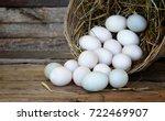 Duck Eggs In Basket On Wooden...