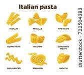delicious italian pasta types... | Shutterstock .eps vector #722504383
