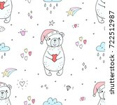 cute seamless pattern with... | Shutterstock .eps vector #722512987