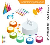 flat 3d isometric infographic... | Shutterstock .eps vector #722516173