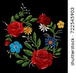 flowers embroidery  flower... | Shutterstock .eps vector #722545903