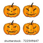 set with a terrible pumpkin for ... | Shutterstock .eps vector #722549647