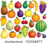 cartoon fruits set vector clip... | Shutterstock .eps vector #722558977
