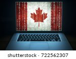 canadian hacker. laptop with... | Shutterstock . vector #722562307