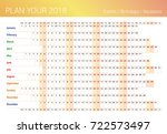 2018 all year wall planner.... | Shutterstock .eps vector #722573497