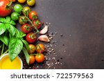 tomatoes  basil and spices on... | Shutterstock . vector #722579563