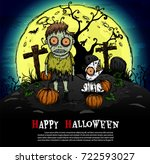 zombie and dog halloween... | Shutterstock .eps vector #722593027