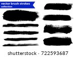 black ink vector brush strokes | Shutterstock .eps vector #722593687