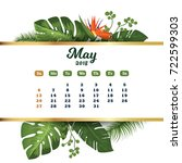 may 2018. tropical printable... | Shutterstock .eps vector #722599303