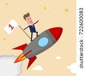 happy businessman holding... | Shutterstock .eps vector #722600083