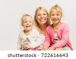 young mother with little... | Shutterstock . vector #722616643