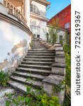 outdoor old style spiral stairs ... | Shutterstock . vector #722619367