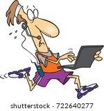 cartoon man working on his... | Shutterstock .eps vector #722640277