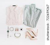 women modern fashion clothes... | Shutterstock . vector #722659267