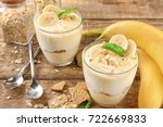 glasses with delicious banana... | Shutterstock . vector #722669833