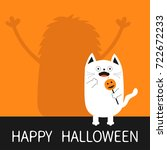 happy halloween. monster... | Shutterstock . vector #722672233