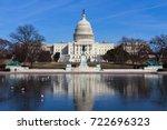 u.s.capitol in winter ... | Shutterstock . vector #722696323