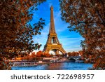 paris eiffel tower and river... | Shutterstock . vector #722698957