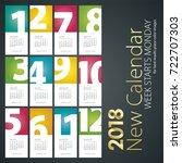 new desk calendar 2018 month...   Shutterstock .eps vector #722707303