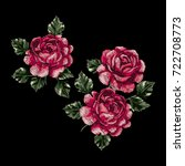 vector embroidery with roses.... | Shutterstock .eps vector #722708773