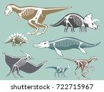 dinosaurs skeletons silhouettes ...   Shutterstock .eps vector #722715967
