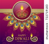 happy diwali festival card with ... | Shutterstock .eps vector #722719183