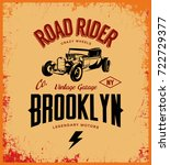 vintage hot rod vector logo... | Shutterstock .eps vector #722729377