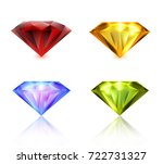 ruby  sapphire  emerald  yellow ... | Shutterstock .eps vector #722731327