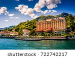 lake como. people on a boat... | Shutterstock . vector #722742217