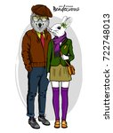 vector rabbit girl and wolf boy....   Shutterstock .eps vector #722748013