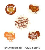 turkey and happy thanks giving... | Shutterstock .eps vector #722751847