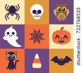 super cute halloween icons....   Shutterstock .eps vector #722768533