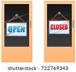 closed and open sign on door... | Shutterstock .eps vector #722769343