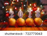 oranges and lighted number... | Shutterstock . vector #722773063